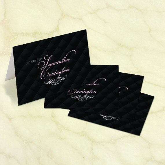 personalized notecards, pink and black notecards, black and pink thank you cards, bridal shower thank you cards, teacher appreciation, PS131