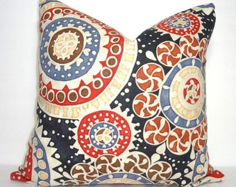 Richloom Black Red Blue Medallion Print Pillow Cover Decorative Pillow Cover Size 18x18