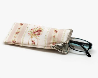 Floral  Shabby Chic Eyeglasses Case - Mini glasses Case - Yellow Mint and pink cotton fabric - Kiss Lock Silver Frame - OOAK
