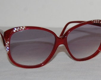 80s Oleg Cassini Sunglasses Wild Big Eye Red Tortoise Shell Plastic White Rhinestones Vintage Statement