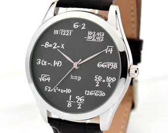 Math Watch on Grey   Funny Men's Watch   Unique Women's Watches   Math Teacher Gift   Math Gifts   Funny Gifts For Men   FREE SHIPPING