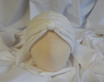 Baby Turban Hat Crochet in White - 3 to 6 Months - Makes a Great Photo Prop