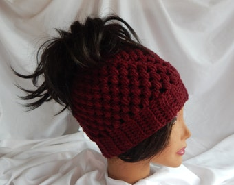 Messy Bun Hat Pony Tail Hat - Crochet Woman's Fashion Hat - Wine Red