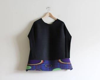 Vintage Pleats Oversized Tunic Blouse / Avant Garde / Free Size