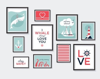 Nautical Printable, Nursery Printables, Whale Gallery Wall, Kids Decor, Sailor, Love, Under the Sea, Aqua, Navy, Red, Sail, INSTANT DOWNLOAD