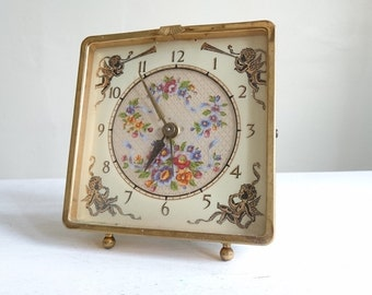 Vintage Wind Up Alarm Clock with Cherubs and Flowers - Made in Scotland