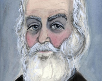 Walt Whitman Art Print, Literary Portrait, (6x8) Victorian Writer, 19th Century Author Illustration