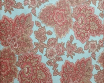 Lario by 3 sisters for Moda light blue background with red and tan designs in leaf shapes and vines 1/2 or 1 yard