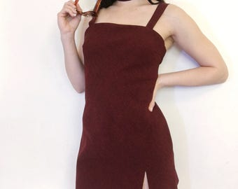 Burgundy Slit Mini Dress & Choker Set