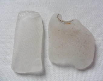 2 unusual white odd shaped sea glass from England
