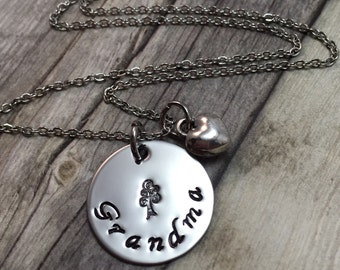 Grandma necklace with tree stamp, hand stamped necklace