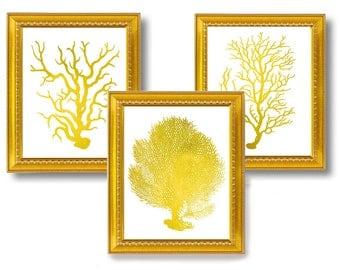 Gold Metallic Sea Fan Coral Nautical Art Print Set of 3 Natural History Beach House Decor