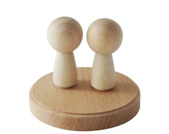 Kokeshi peg dolls and solid beech wood round base - unfinished wedding cake topper set - UK store