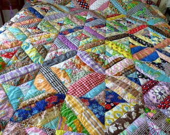 Vintage 60's Crossroads Patch Quilt Hand Sewn,Hand Quilted Bold 1960s Home Made Quilt
