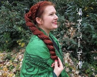 Fantasy TWIST BRAID & CHIGNON updo ponytail C U S T O M  C O L O R Hair Fall Reenactment Larp wig 20''/ 50 cm long Steampunk extension
