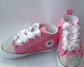 Pink Converse, Baby Girls, Bling Shoes, Rhinestone Hearts, AB Crystals, Satin Laces, White Ties