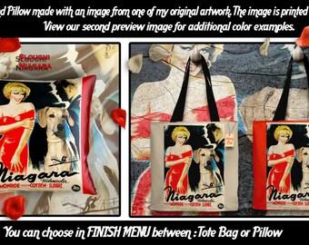 Sloughi Pillow or Tote Bag/Sloughi Art/Arabian Greyhound/Dog Tote Bag/Dog Pillow/Dog Art/Custom Dog Portrait/Niagara Movie Poster