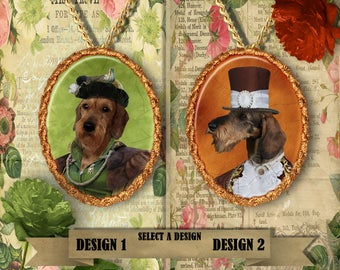 Dachshund Wirehaired Jewelry. Dachshund Pendant or Brooch. Doxie Necklace. Dachshund Portrait. Custom Dog Jewelry.Dog Handmade Jewelry