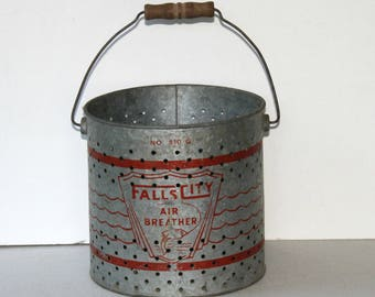 "Vintage Bait Pail ""Falls City Air Breathers"" with Handle & Red Graphics , Galvanized Metal Bucket , Old Fishing Bucket , Farmhouse Decor"