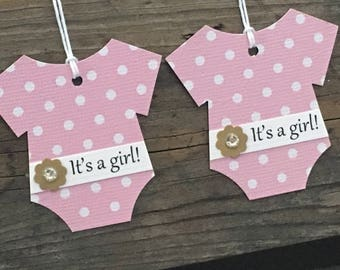 Set of 12 Pink and White Polka Dot Bodysuit It's a girl! Tags-Gold Flowers with Rhinestone Centers- Baby Shower Favor Gift Tag