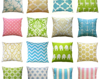 CLEARANCE Spring Pillows, Green Pillow Cover, 16x16 Yellow Zippered Pillow, Pink Cushion Cover, Pillow Cases, Aqua Bed Pillows, Spring Decor