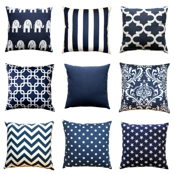Throw Pillow Cover Pattern With Zipper : Navy Blue Pillow Cover Nautical Pillows Zippered Pillow