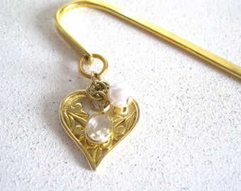 Handmade Heart Gold Bookmark Pearl Charm style Inspirational Page Holder Etched Metal white pearl Teacher gifts under 10 Book Accessories