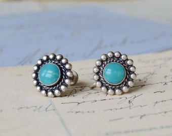Vintage Sterling and Turquoise Southwestern Screw Back Earrings