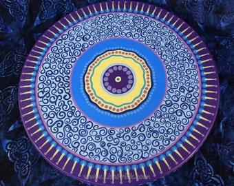 "Lazy Susan #19- Hand Painted 18"" Diameter  Mandala Pattern"