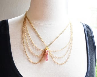Gold Collar Pink Aura Crystal Quartz Necklace