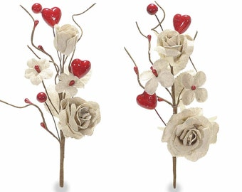 Rose Branches Jute Flowers and Hearts 10 pcs