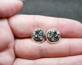 Gun Metal Druzy Studs, Gifts for Her, Druzy Earrings, Druzy Jewelry, Stud Earrings, Hypoallergenic, Simple Earrings, Minimalist Earrings
