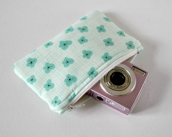 Gadget padded camera pouch protective mini make up bag blossom flower print in aqua green and white.