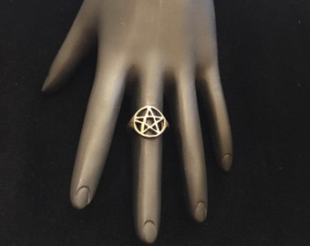ACE OF PENTACLES Silver Pentacle Ring Sz. 6