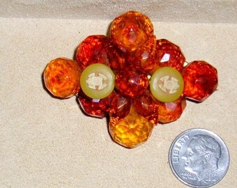 Antique Victorian Era Real Baltic Honey Amber Brooch With Celluloid Frog Accents 1890's Vintage Pin Jewelry 11047