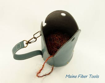 Yarn Bowl Bucket Bag- Teal Green Top Grain Leather- Unique Gift- Maine Fiber Tools