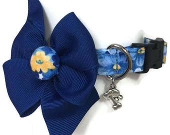 Blue and Yellow Floral Dog Collar size Small