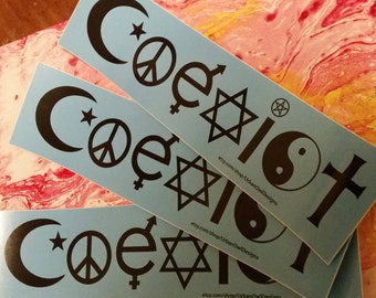 COEXIST sticker SALE - 3 for 2.99 Vinyl Bumper Sticker -