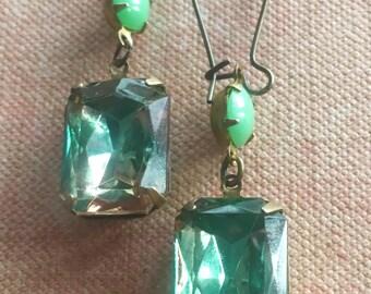 Jewelry Earrings, Art Deco Earrings, Green Earrings, Dangle and Drop Earrings