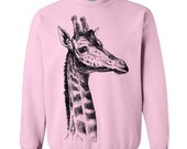 ON SALE Unisex Giraffe Sweater Flex Fleece Pullover Classic Sweatshirt - S M L Xl and Xxl (14 Color Options)
