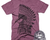 Eagle HeadDress T-Shirt Vintage Graphic Art Tshirt Mens Eagle Shirt Womens Headdress Tee Shirt Cool Tshirts Gifts Unisex Tri Blend Shirt
