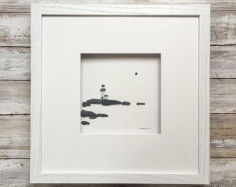 Pebble Art by Sharon Nowlan, sea glass lighthouse  pebble art comes matted or framed in 12 by 12 frame.