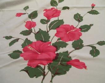 "California Hand Prints Vintage Tablecloth Pink HIbiscus Mid Century 1950s Retro Table Cloth Bright Pink 60"" x 80"" Tropical Splendor"