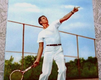 Vintage 1950's Tennis Photo Poster Men's Sport Fashion from Clothing Store - Print Ready To Frame Handsome Man