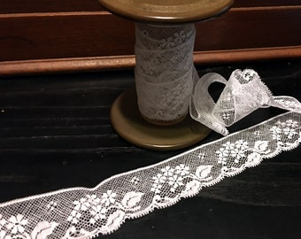 "FREE SHIPPING - 1  1/4"" wide French Heirloom White Lace Edging"
