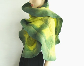 SALE 50% Nuno felted  shawl Wool and Silk - Green and yellow scarf