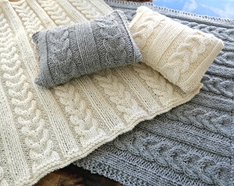 Cable Knit Mini Pillow and Matching Newborn Blanket Set Photography Prop, Cream Mini Blanket Set, Gray or Any Color, MADE TO ORDER