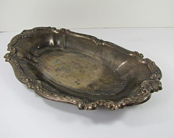 Vintage SiLVERPLATE SERVING BOWL Oval Platter Gorgeous Decorative Rim Tarnish Patina Silver Plate