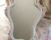 FREE SHIPPING, Ornate Oval white baby girl shabby nursery curvy vintage framed mirror