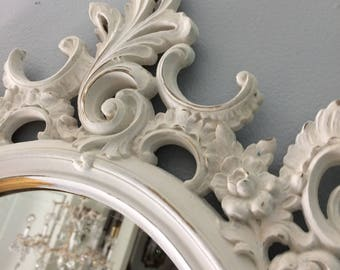 R A R E Ornate vintage baby girl nursery, shabby chic, farmhouse, Chalk painted white mirror